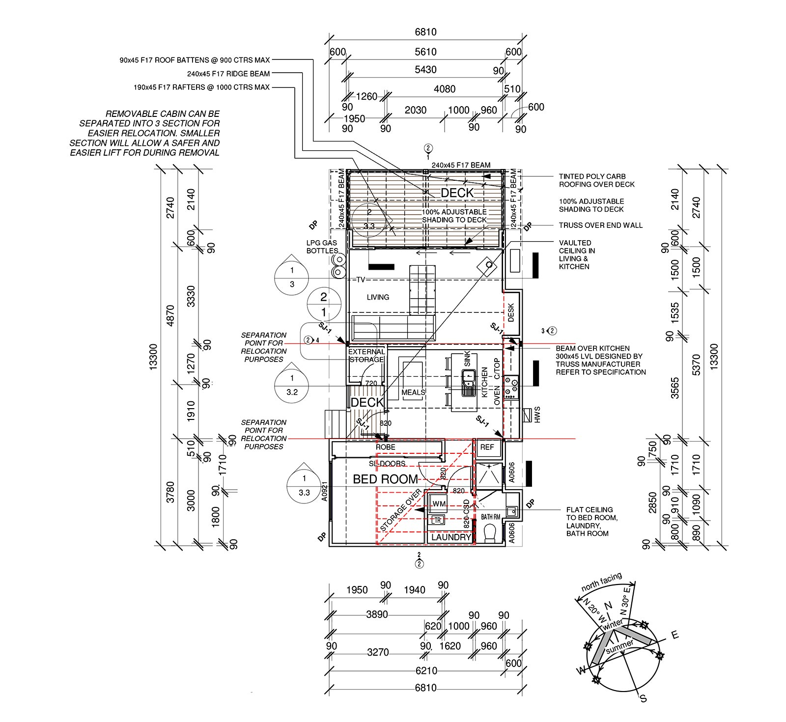 Small Cabin Plans to fit dwelling in inner city block